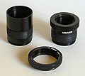 Meade T-mount adapter tube & Nikon T-mount ring (Click for larger view)